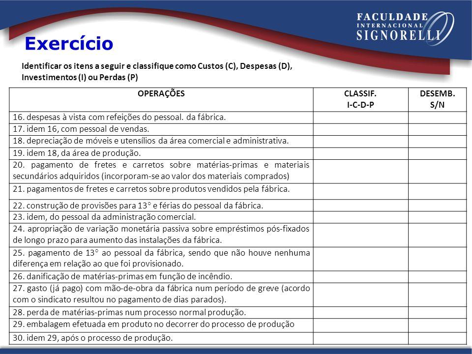 Exercício Identificar os itens a seguir e classifique como Custos (C), Despesas (D), Investimentos (I) ou Perdas (P) OPERAÇÕESCLASSIF. I-C-D-P DESEMB.