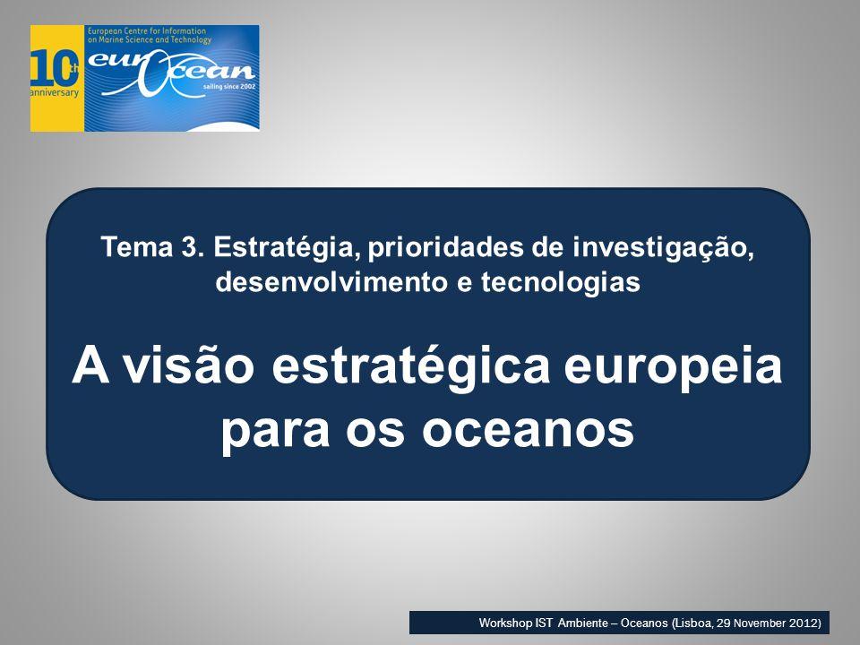 Tema 3. Estratégia, prioridades de investigação, desenvolvimento e tecnologias A visão estratégica europeia para os oceanos Workshop IST Ambiente – Oc
