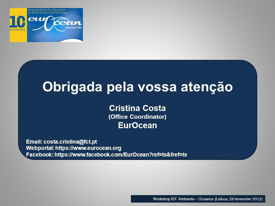 Obrigada pela vossa atenção Cristina Costa (Office Coordinator) EurOcean Email: costa.cristina@fct.pt Webportal: https://www.eurocean.org Facebook: https://www.facebook.com/EurOcean ref=ts&fref=ts Workshop IST Ambiente – Oceanos (Lisboa, 29 November 2012)