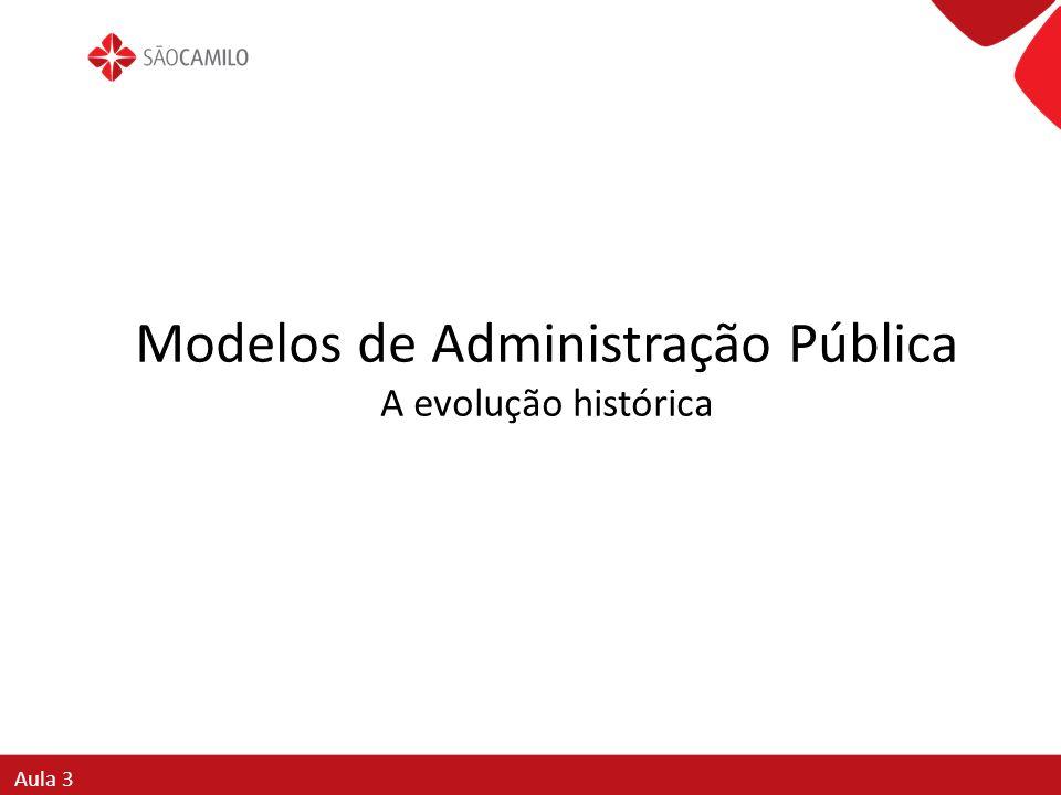 Modelos de Administração Pública A evolução histórica Aula 3