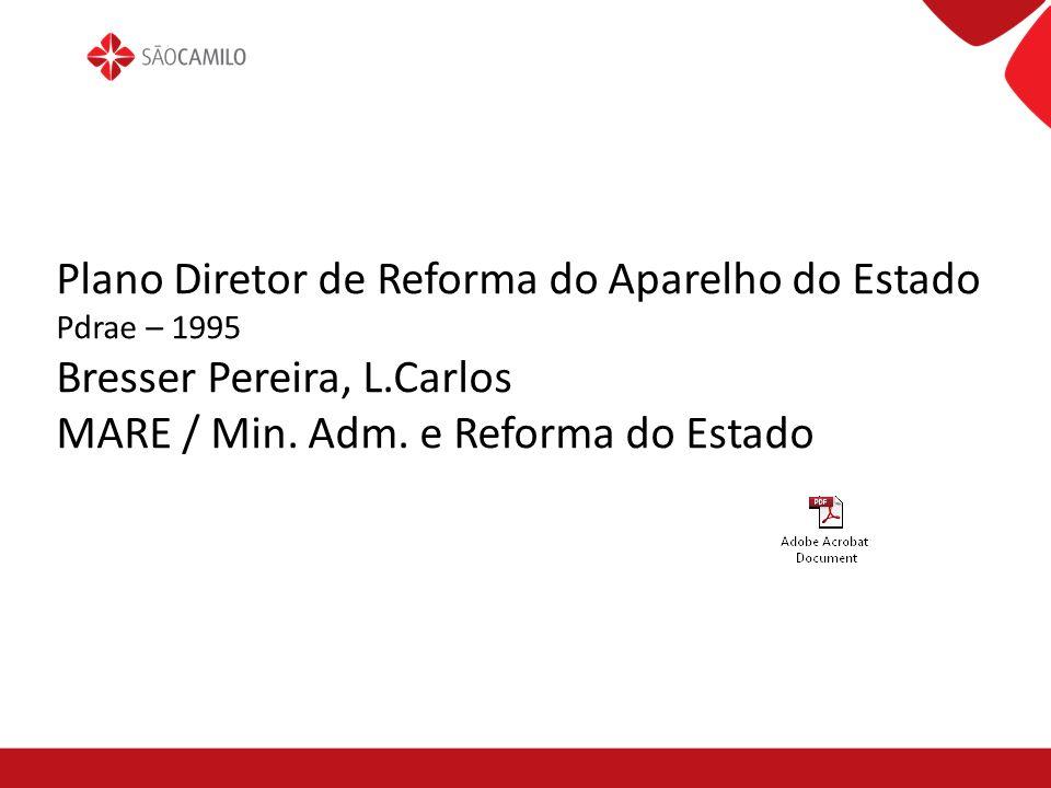 Plano Diretor de Reforma do Aparelho do Estado Pdrae – 1995 Bresser Pereira, L.Carlos MARE / Min. Adm. e Reforma do Estado