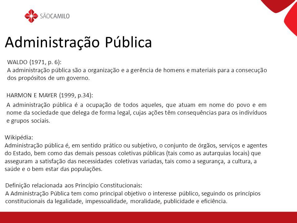 Administração Pública WALDO (1971, p. 6): A administração pública são a organização e a gerência de homens e materiais para a consecução dos propósito