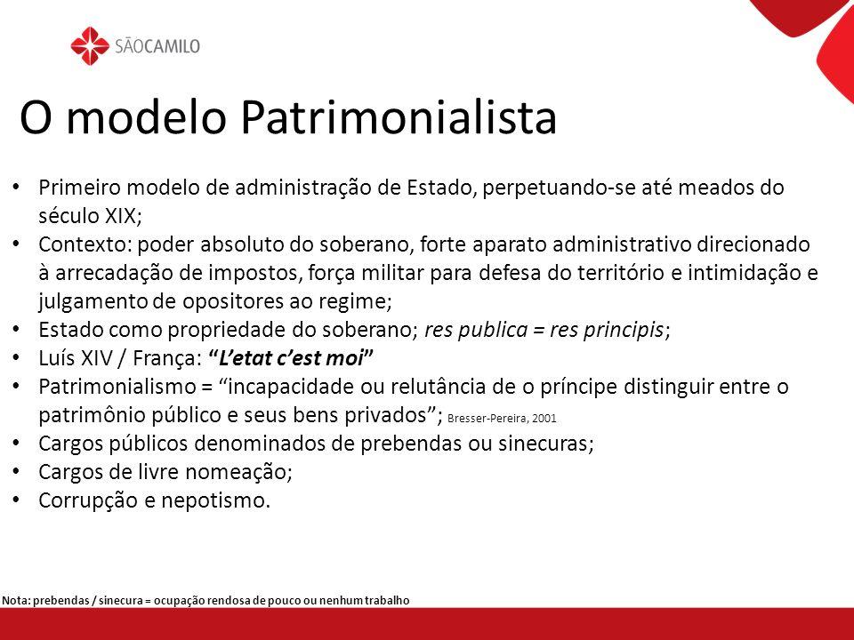 O modelo Patrimonialista Primeiro modelo de administração de Estado, perpetuando-se até meados do século XIX; Contexto: poder absoluto do soberano, fo
