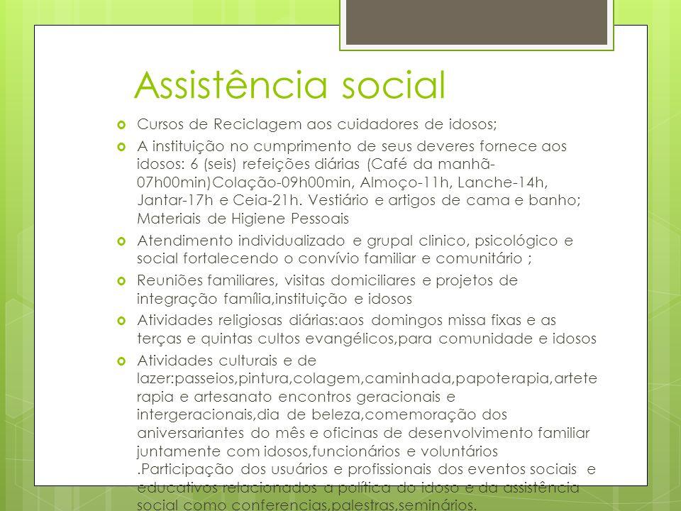 Assistência social Cursos de Reciclagem aos cuidadores de idosos; A instituição no cumprimento de seus deveres fornece aos idosos: 6 (seis) refeições
