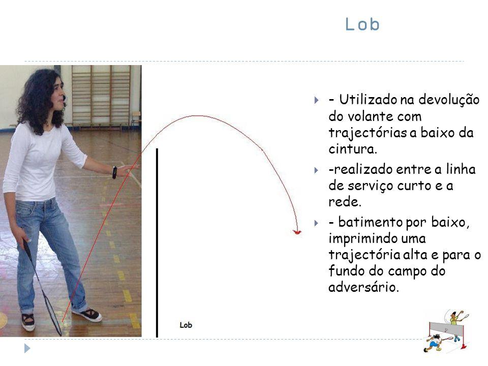 Lob - Utilizado na devolução do volante com trajectórias a baixo da cintura. -realizado entre a linha de serviço curto e a rede. - batimento por baixo