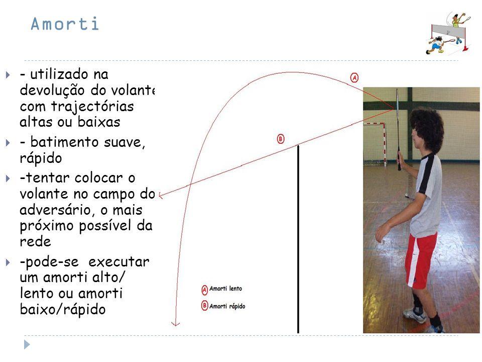 Amorti - utilizado na devolução do volante com trajectórias altas ou baixas - batimento suave, rápido -tentar colocar o volante no campo do adversário