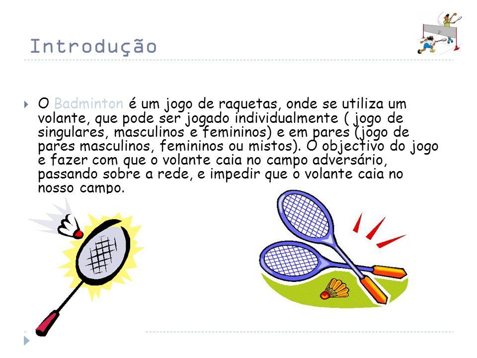Introdução O Badminton é um jogo de raquetas, onde se utiliza um volante, que pode ser jogado individualmente ( jogo de singulares, masculinos e femin