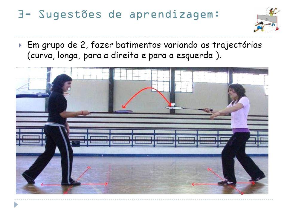 3- Sugestões de aprendizagem: Em grupo de 2, fazer batimentos variando as trajectórias (curva, longa, para a direita e para a esquerda ).