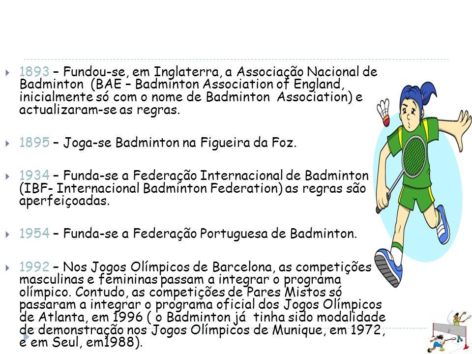 1893 – Fundou-se, em Inglaterra, a Associação Nacional de Badminton (BAE – Badminton Association of England, inicialmente só com o nome de Badminton A