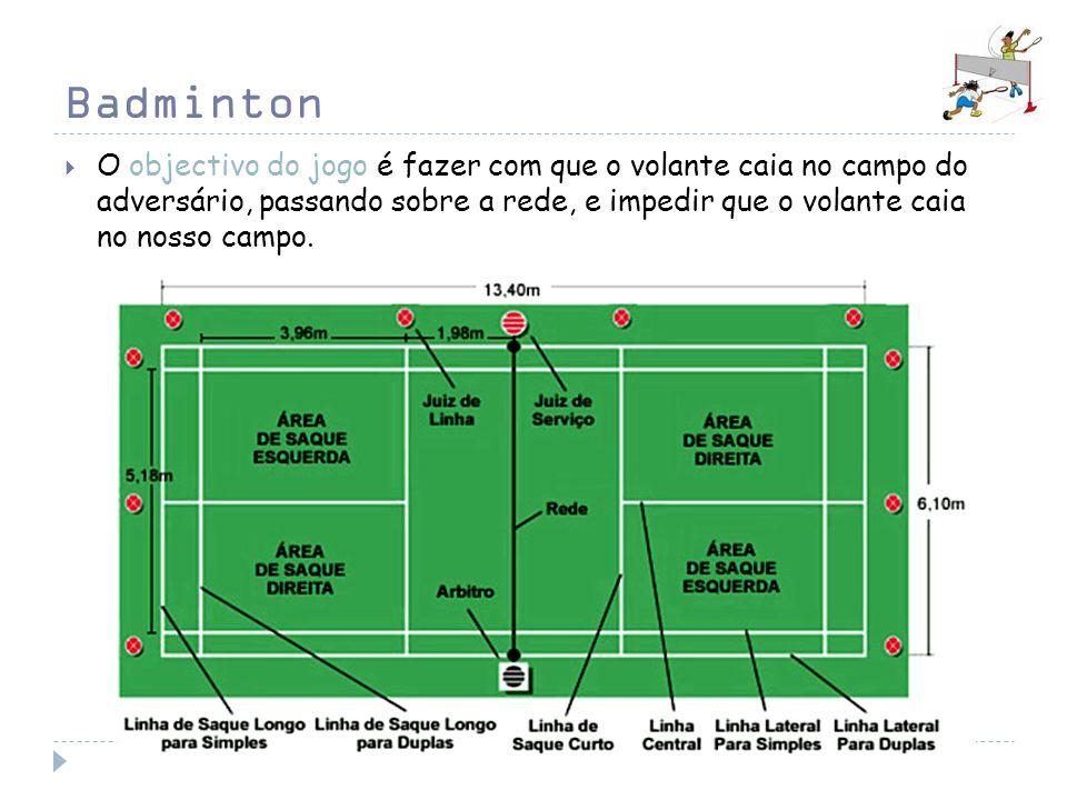 Badminton O objectivo do jogo é fazer com que o volante caia no campo do adversário, passando sobre a rede, e impedir que o volante caia no nosso camp