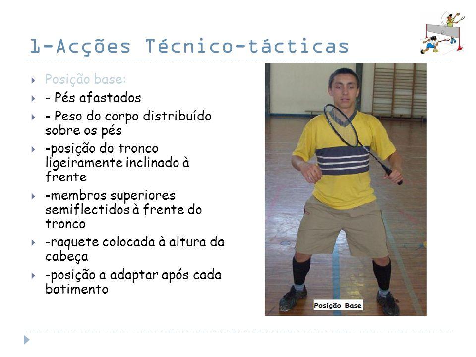 1-Acções Técnico-tácticas Posição base: - Pés afastados - Peso do corpo distribuído sobre os pés -posição do tronco ligeiramente inclinado à frente -m