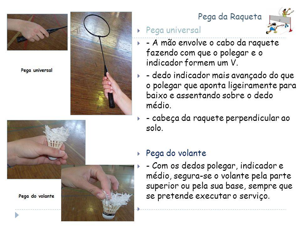 Pega da Raqueta Pega universal - A mão envolve o cabo da raquete fazendo com que o polegar e o indicador formem um V. - dedo indicador mais avançado d