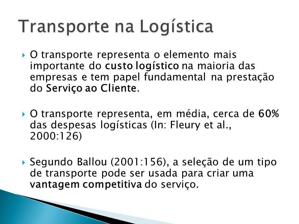 O transporte representa o elemento mais importante do custo logístico na maioria das empresas e tem papel fundamental na prestação do Serviço ao Clien