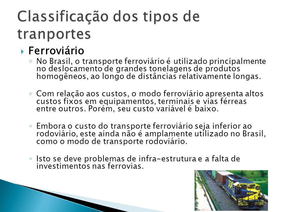 Ferroviário No Brasil, o transporte ferroviário é utilizado principalmente no deslocamento de grandes tonelagens de produtos homogêneos, ao longo de d