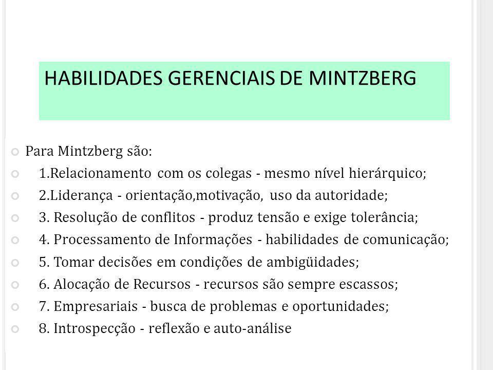Para Mintzberg são: 1.Relacionamento com os colegas - mesmo nível hierárquico; 2.Liderança - orientação,motivação, uso da autoridade; 3.