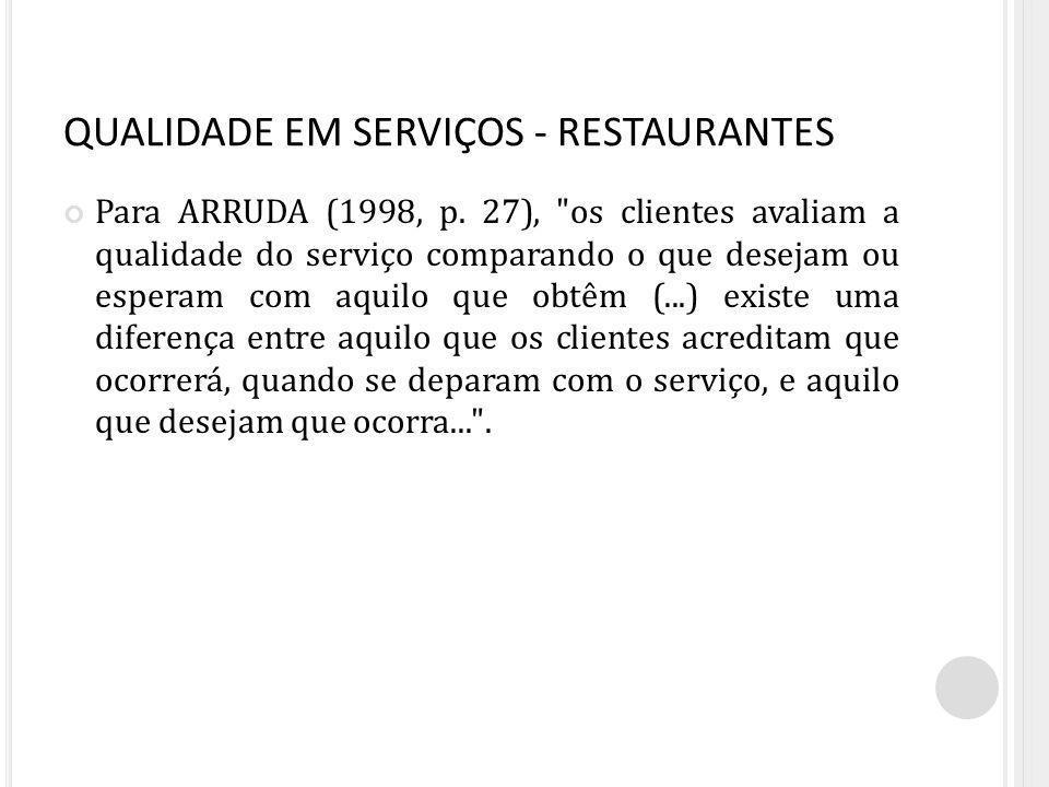 QUALIDADE EM SERVIÇOS - RESTAURANTES Para ARRUDA (1998, p.