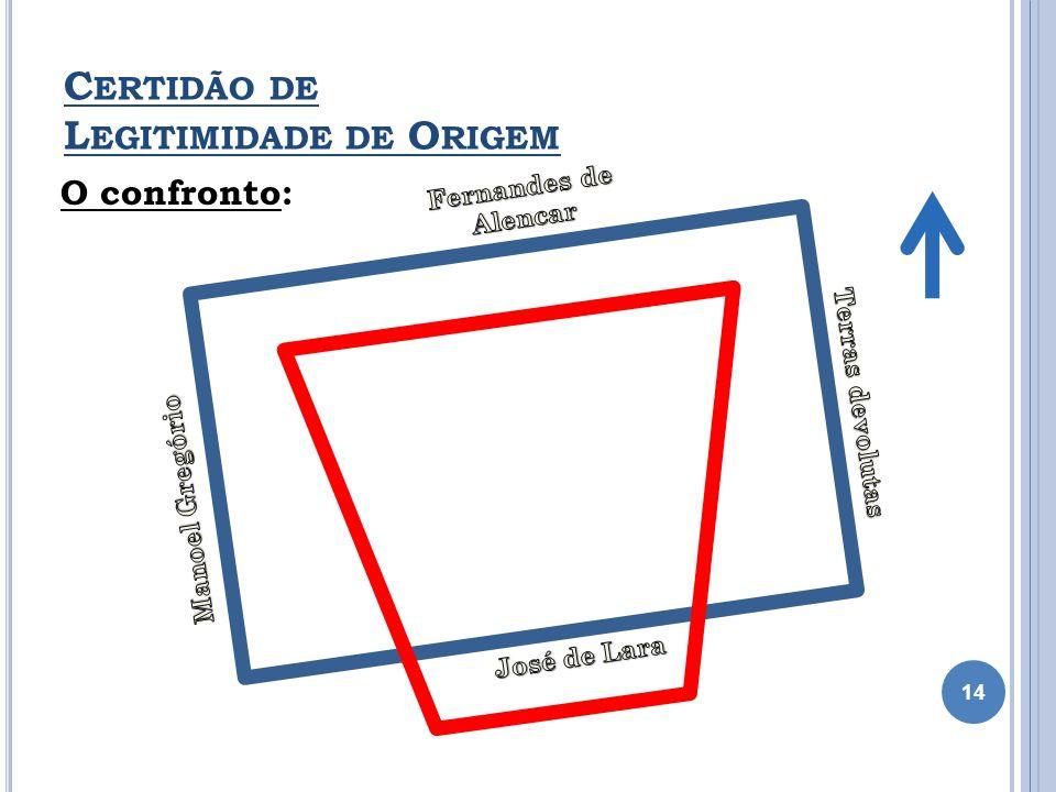 C ERTIDÃO DE L EGITIMIDADE DE O RIGEM O confronto: 14