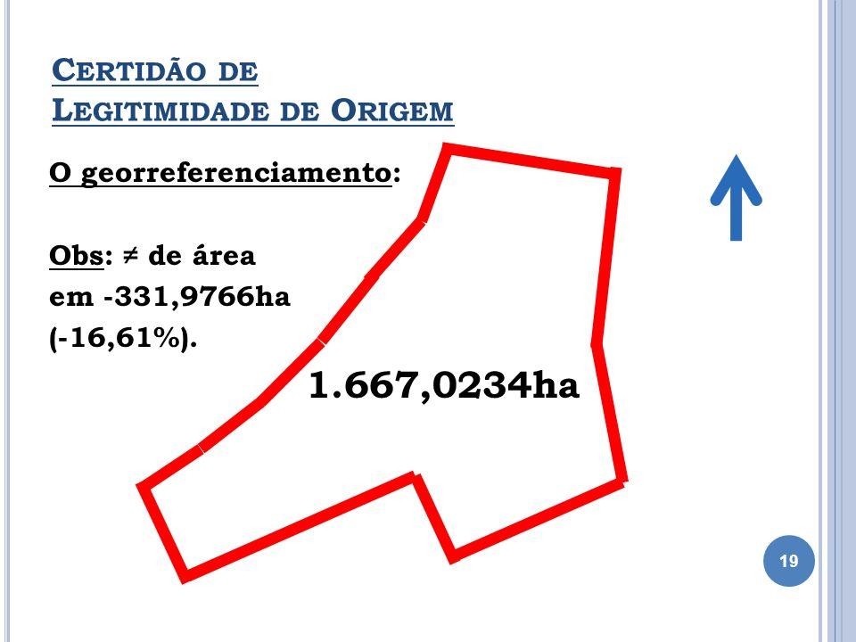 O georreferenciamento: Obs: de área em -331,9766ha (-16,61%). 1.667,0234ha C ERTIDÃO DE L EGITIMIDADE DE O RIGEM 19