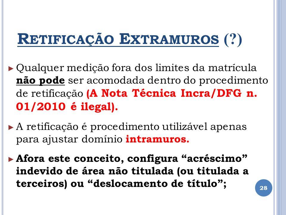 R ETIFICAÇÃO E XTRAMUROS (?) Qualquer medição fora dos limites da matrícula não pode ser acomodada dentro do procedimento de retificação ( A Nota Técn