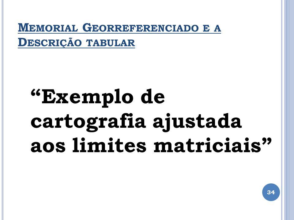 M EMORIAL G EORREFERENCIADO E A D ESCRIÇÃO TABULAR 34 Exemplo de cartografia ajustada aos limites matriciais