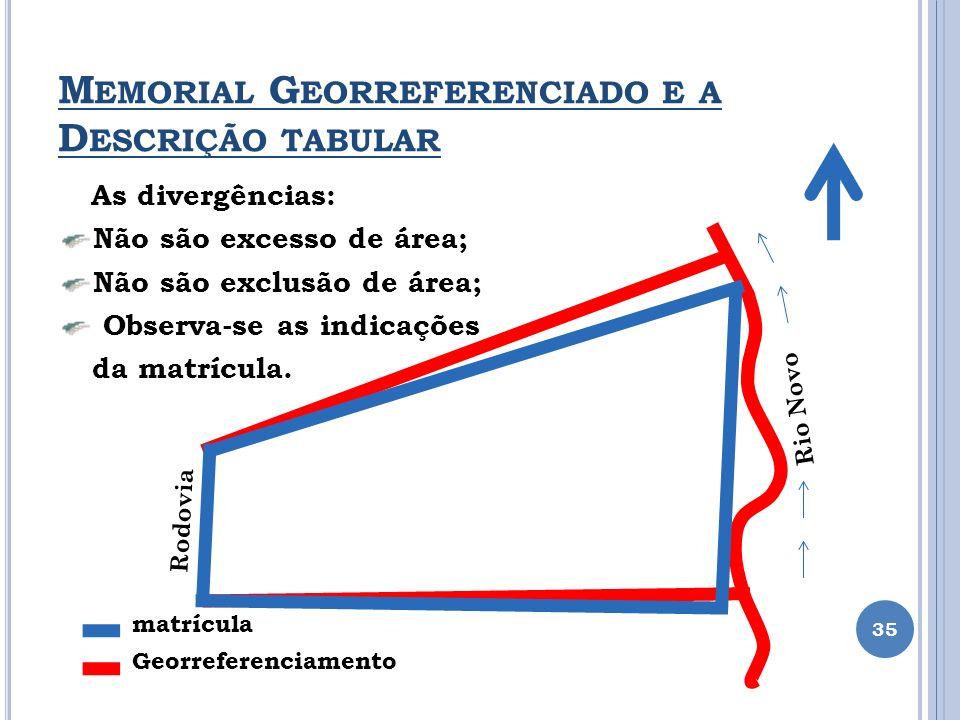 M EMORIAL G EORREFERENCIADO E A D ESCRIÇÃO TABULAR 35 As divergências: Não são excesso de área; Não são exclusão de área; Observa-se as indicações da