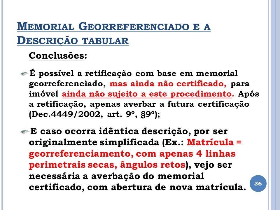 M EMORIAL G EORREFERENCIADO E A D ESCRIÇÃO TABULAR 36 Conclusões: É possível a retificação com base em memorial georreferenciado, mas ainda não certif