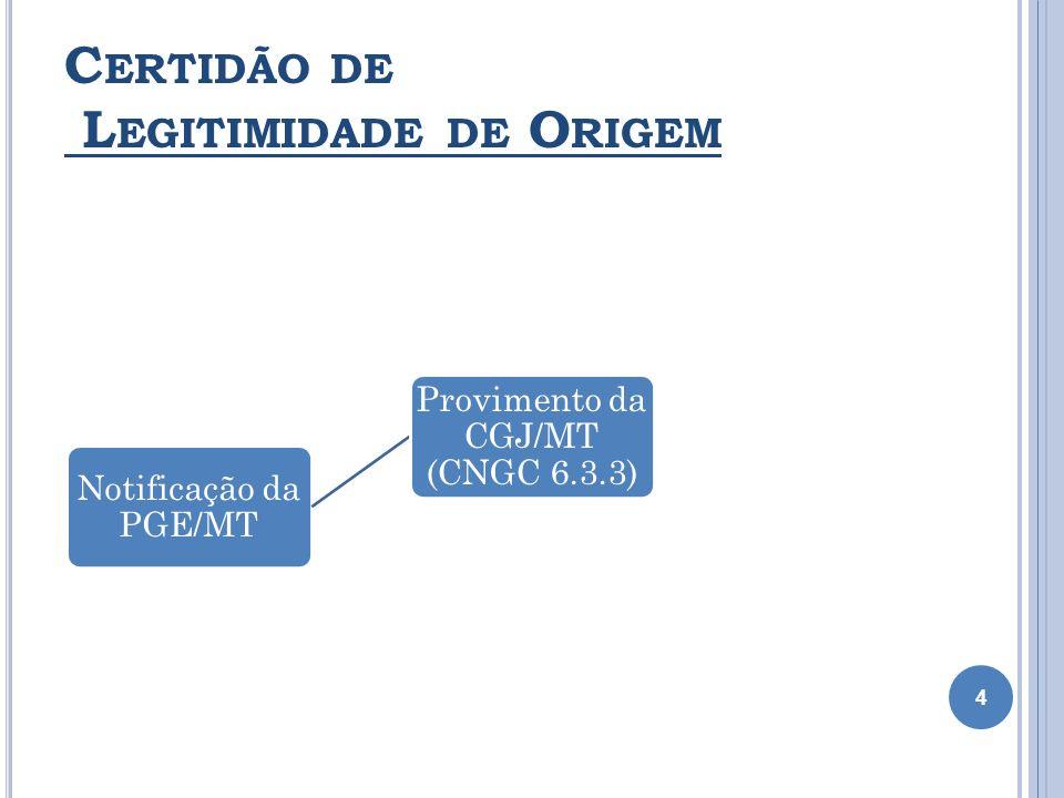 C ERTIDÃO DE L EGITIMIDADE DE O RIGEM 4 Notificação da PGE/MT Provimento da CGJ/MT (CNGC 6.3.3) Prov. 06/2011 - Revogação MS da Anoreg