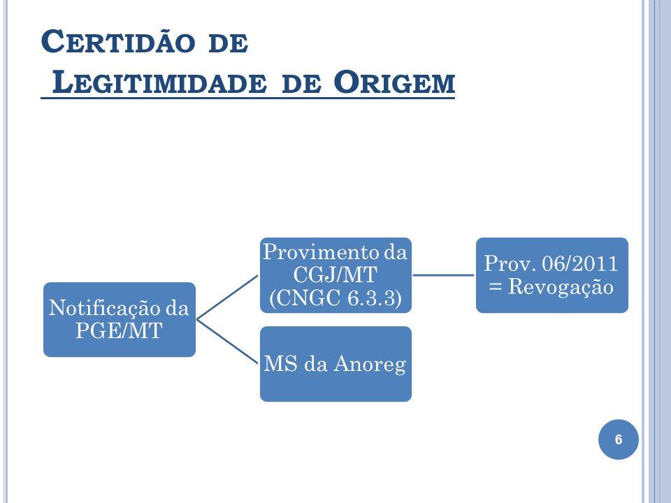 C ERTIDÃO DE L EGITIMIDADE DE O RIGEM 6 Notificação da PGE/MT Provimento da CGJ/MT (CNGC 6.3.3) Prov. 06/2011 = Revogação MS da Anoreg