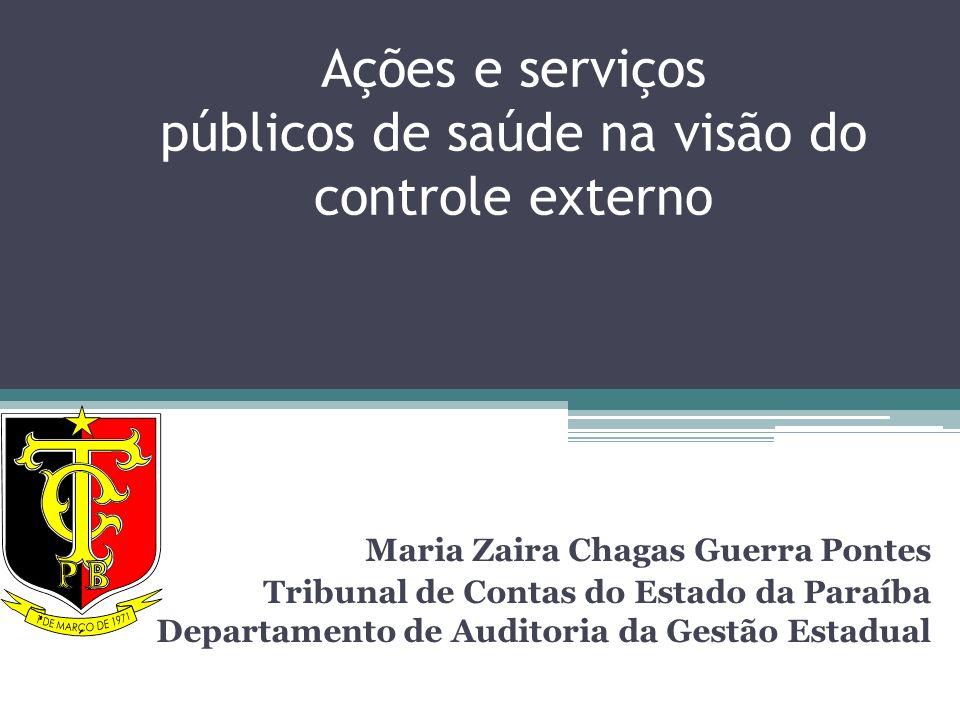 Ações e serviços públicos de saúde na visão do controle externo Maria Zaira Chagas Guerra Pontes Tribunal de Contas do Estado da Paraíba Departamento