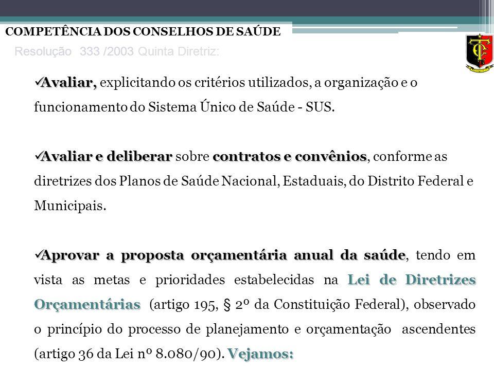 Avaliar, Avaliar, explicitando os critérios utilizados, a organização e o funcionamento do Sistema Único de Saúde - SUS. Avaliar e deliberar contratos