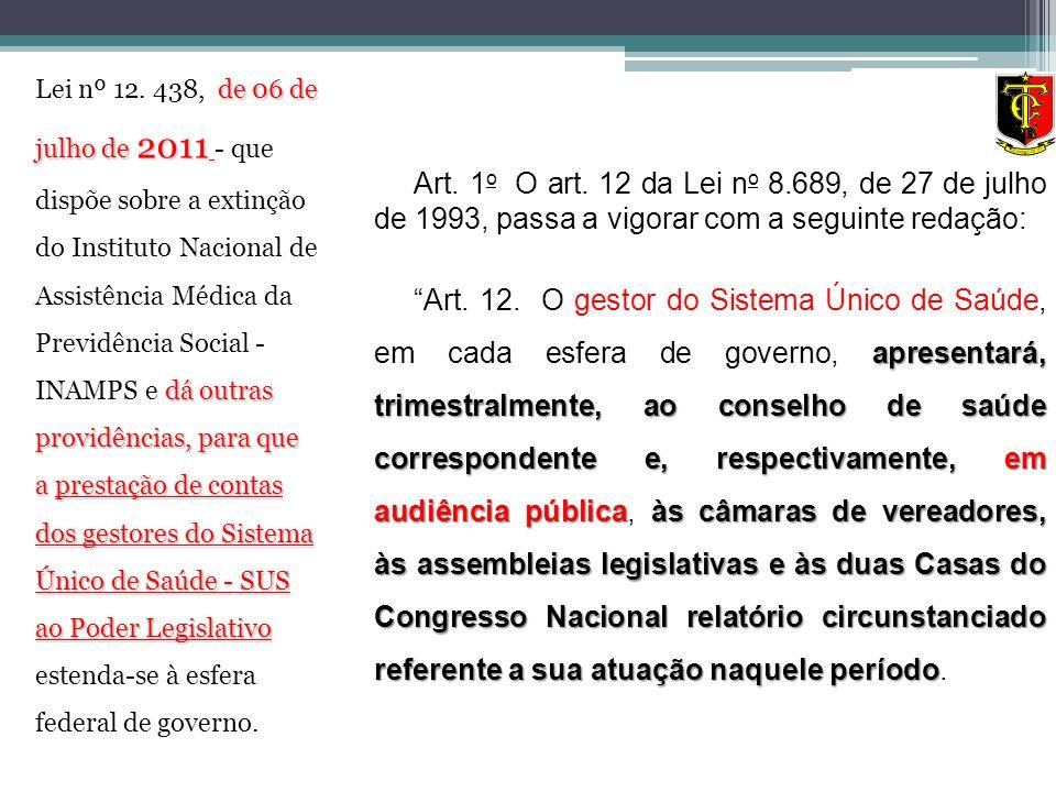 Art. 1 o O art. 12 da Lei n o 8.689, de 27 de julho de 1993, passa a vigorar com a seguinte redação: apresentará, trimestralmente, ao conselho de saúd