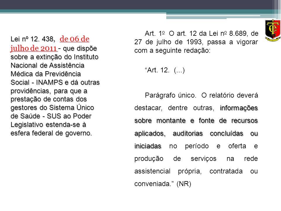 Art. 1 o O art. 12 da Lei n o 8.689, de 27 de julho de 1993, passa a vigorar com a seguinte redação: Art. 12. (...) informações sobre montante e fonte
