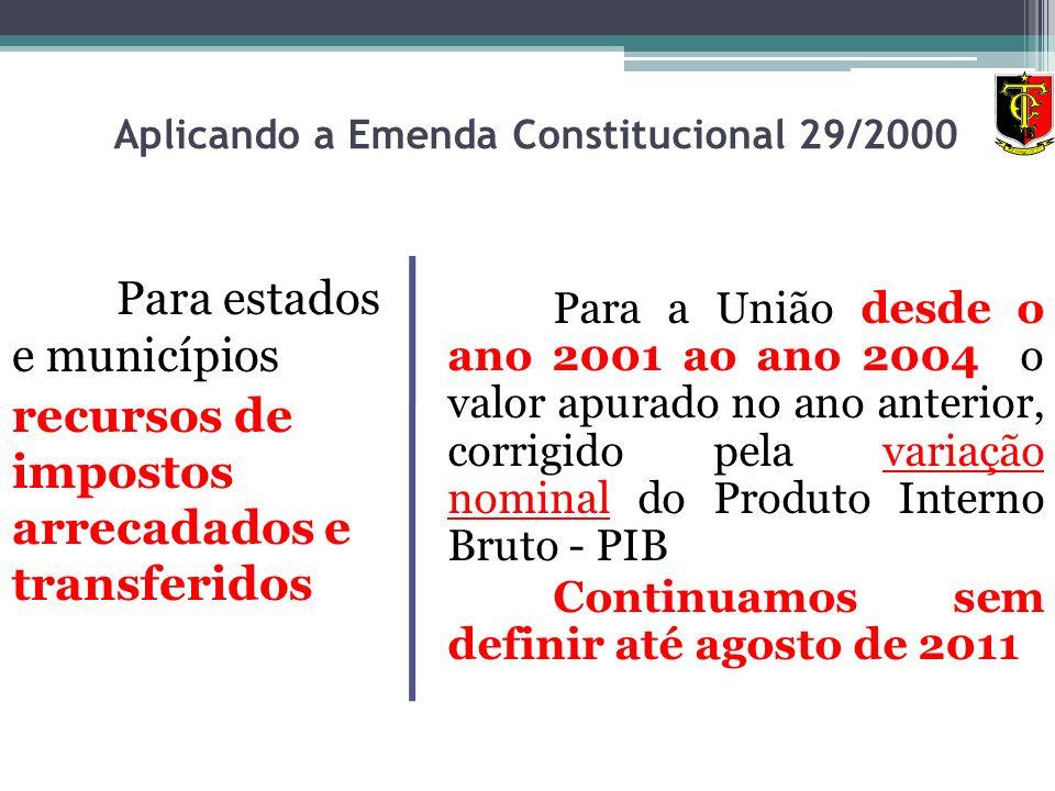 Aplicando a Emenda Constitucional 29/2000 Para estados e municípios recursos de impostos arrecadados e transferidos Para a União desde o ano 2001 ao a