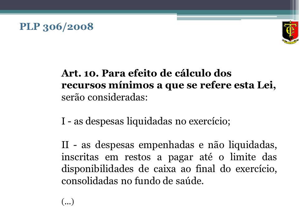 Art. 10. Para efeito de cálculo dos recursos mínimos a que se refere esta Lei, serão consideradas: I - as despesas liquidadas no exercício; II - as de
