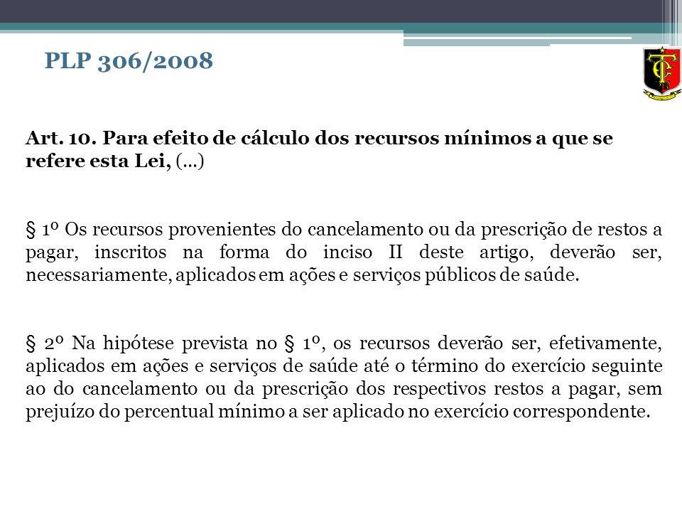 Art. 10. Para efeito de cálculo dos recursos mínimos a que se refere esta Lei, (...) § 1º Os recursos provenientes do cancelamento ou da prescrição de