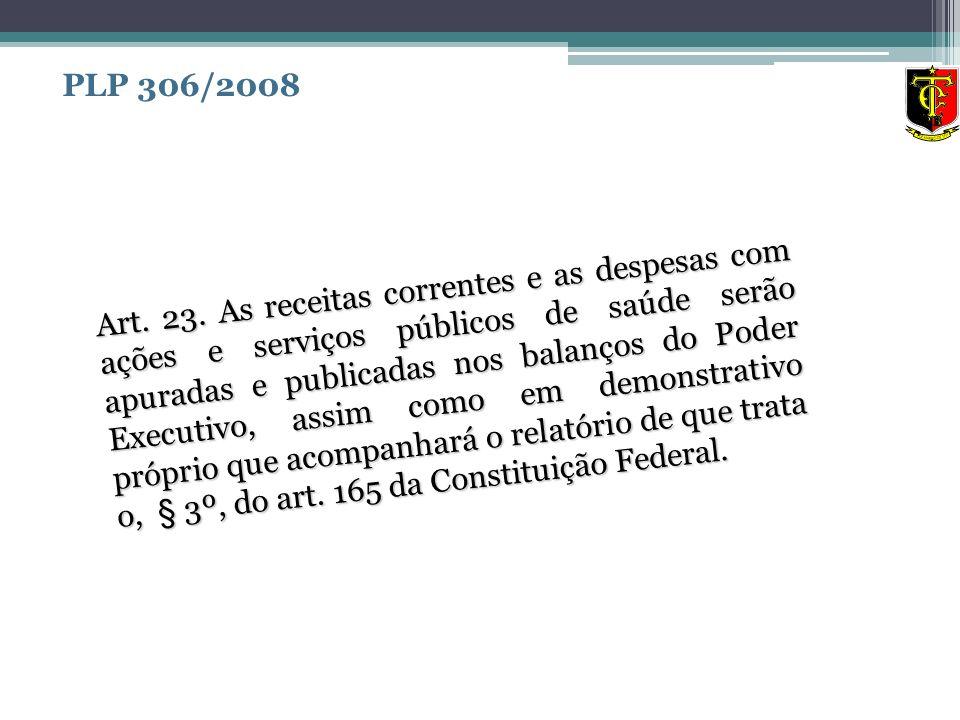Art. 23. As receitas correntes e as despesas com ações e serviços públicos de saúde serão apuradas e publicadas nos balanços do Poder Executivo, assim