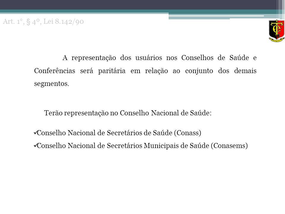 Terão representação no Conselho Nacional de Saúde: Conselho Nacional de Secretários de Saúde (Conass) Conselho Nacional de Secretários Municipais de S