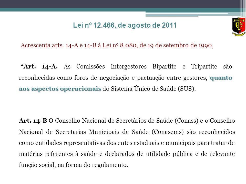 Acrescenta arts. 14-A e 14-B à Lei n o 8.080, de 19 de setembro de 1990, quanto aos aspectos operacionais Art. 14-A. As Comissões Intergestores Bipart