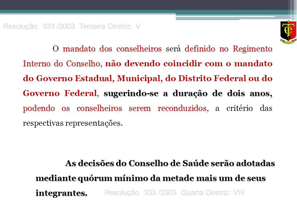 mandato dos conselheiros definido no Regimento Interno do Conselho sugerindo-se a duração de dois anos, podendo os conselheiros serem reconduzidos O m
