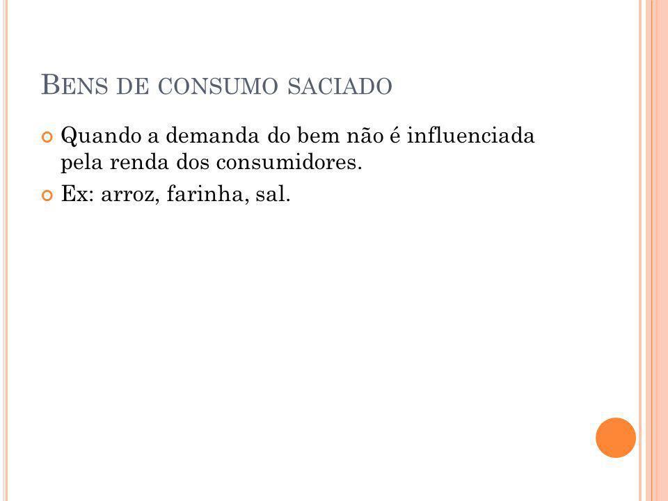 B ENS DE CONSUMO SACIADO Quando a demanda do bem não é influenciada pela renda dos consumidores. Ex: arroz, farinha, sal.