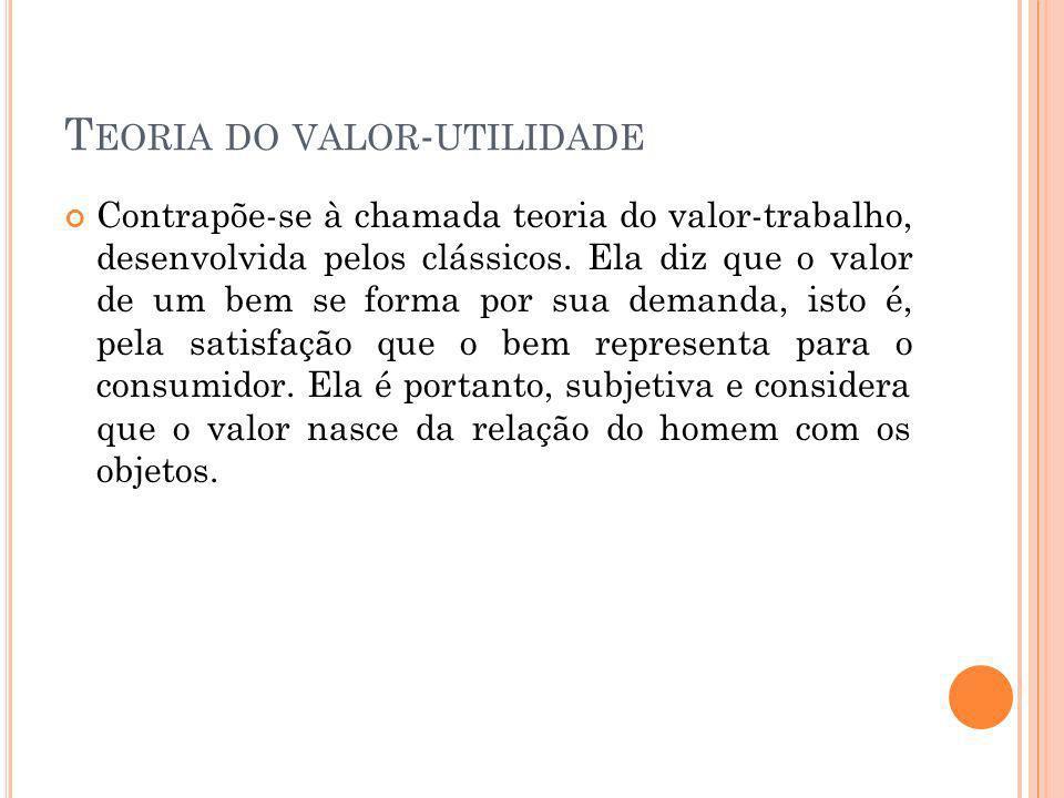 T EORIA DO VALOR - UTILIDADE Contrapõe-se à chamada teoria do valor-trabalho, desenvolvida pelos clássicos.