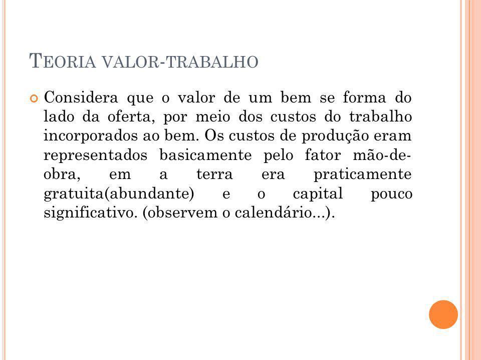 T EORIA VALOR - TRABALHO Considera que o valor de um bem se forma do lado da oferta, por meio dos custos do trabalho incorporados ao bem.