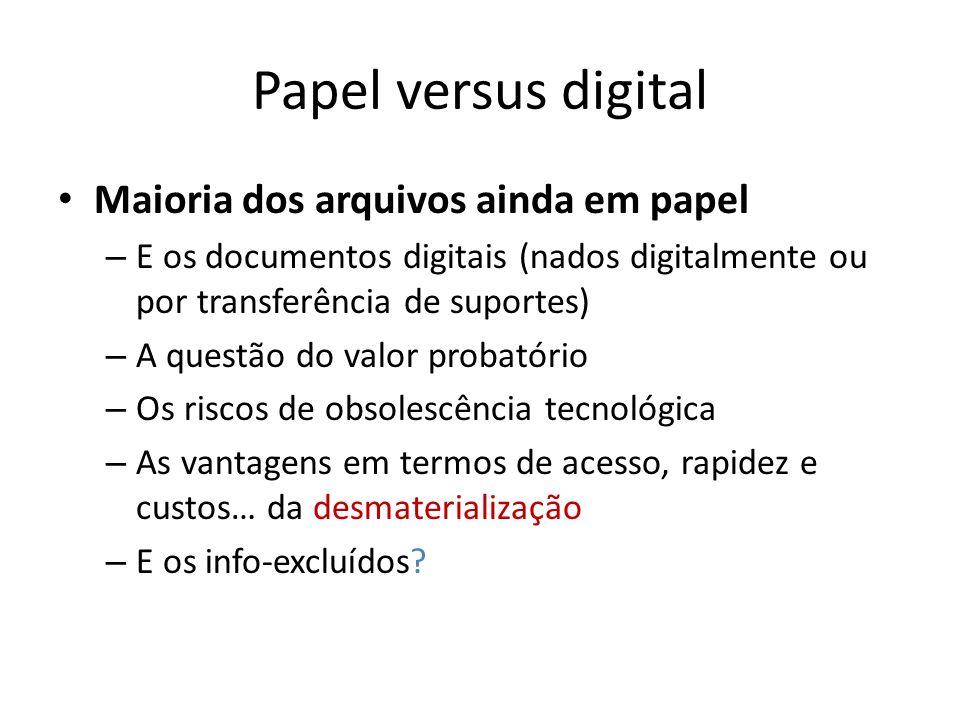 Papel versus digital Maioria dos arquivos ainda em papel – E os documentos digitais (nados digitalmente ou por transferência de suportes) – A questão