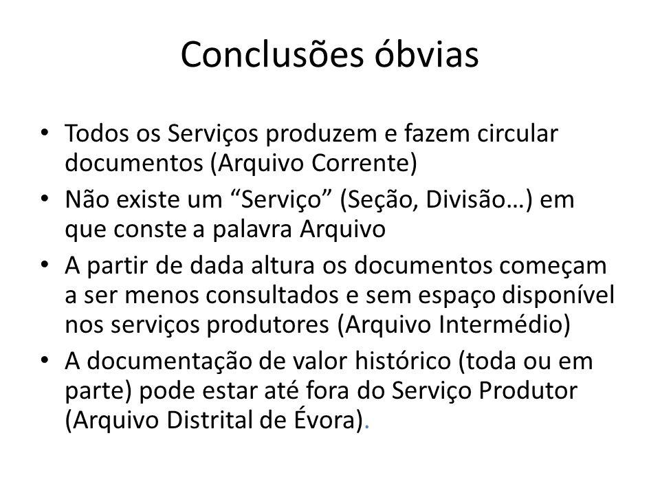 Conclusões óbvias Todos os Serviços produzem e fazem circular documentos (Arquivo Corrente) Não existe um Serviço (Seção, Divisão…) em que conste a pa