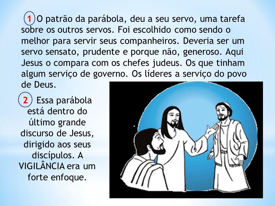 1 O patrão da parábola, deu a seu servo, uma tarefa sobre os outros servos. Foi escolhido como sendo o melhor para servir seus companheiros. Deveria s