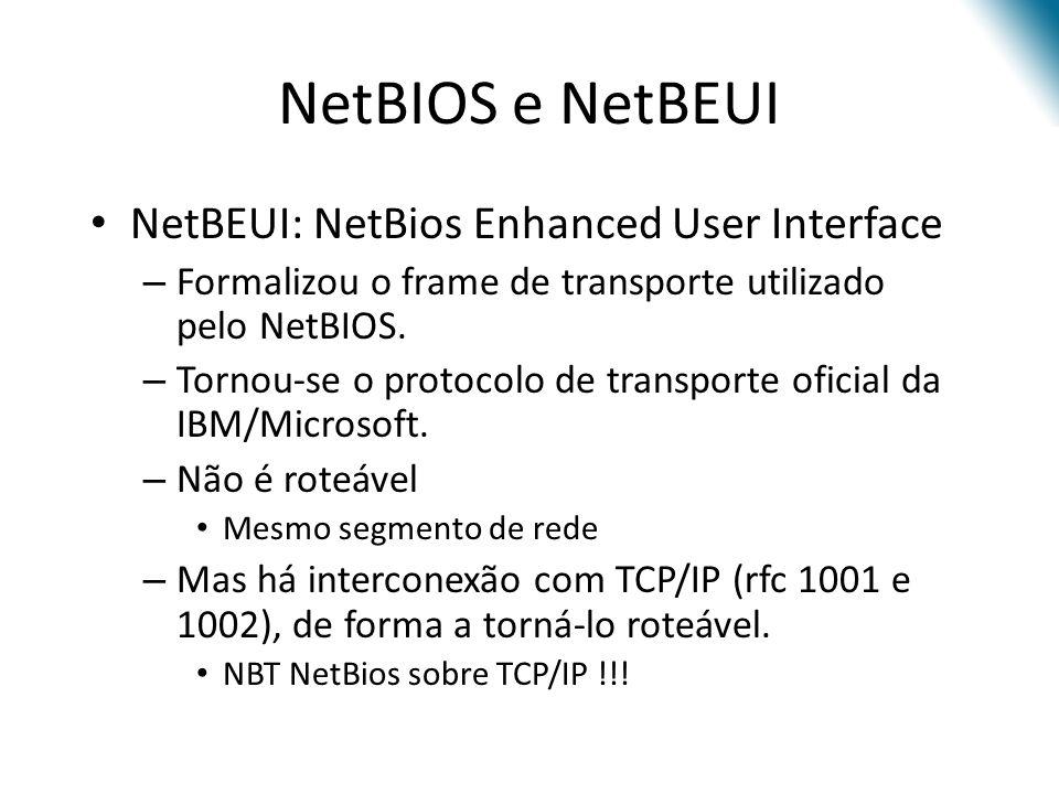 NetBIOS e NetBEUI NetBEUI: NetBios Enhanced User Interface – Formalizou o frame de transporte utilizado pelo NetBIOS. – Tornou-se o protocolo de trans