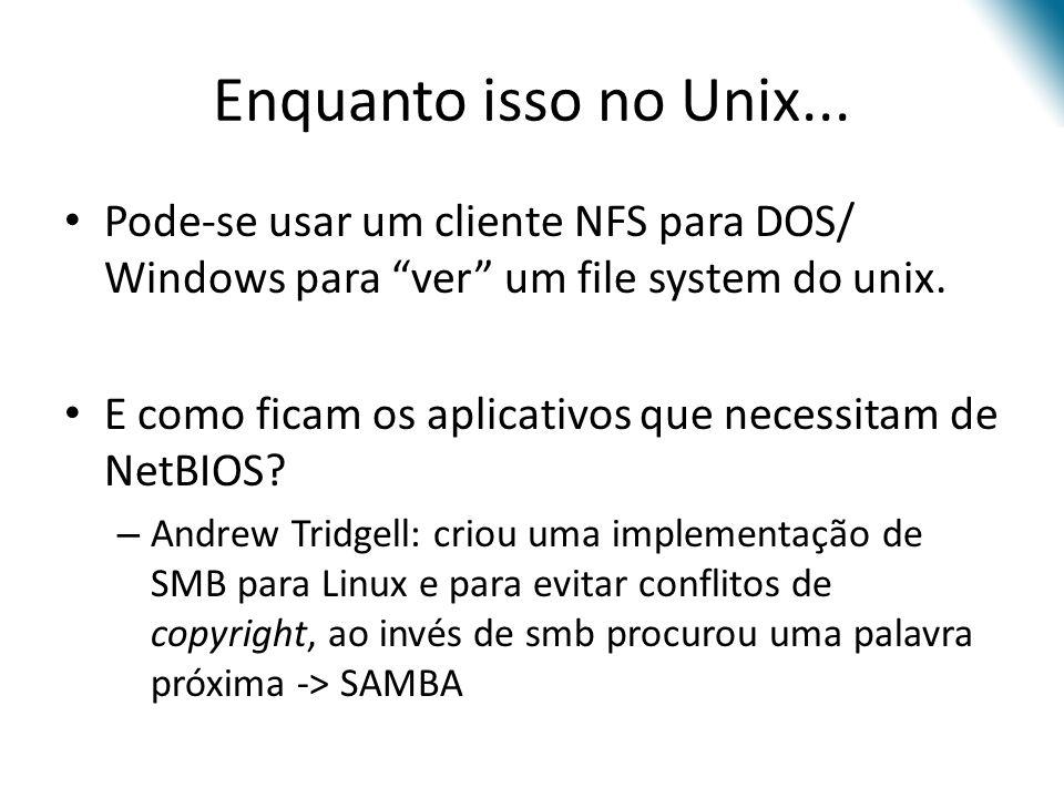 Enquanto isso no Unix... Pode-se usar um cliente NFS para DOS/ Windows para ver um file system do unix. E como ficam os aplicativos que necessitam de