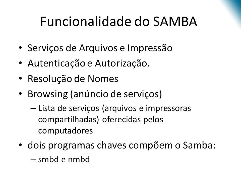 Funcionalidade do SAMBA Serviços de Arquivos e Impressão Autenticação e Autorização. Resolução de Nomes Browsing (anúncio de serviços) – Lista de serv