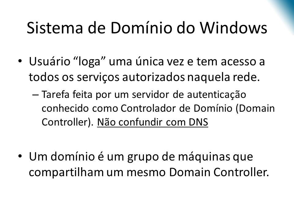 Sistema de Domínio do Windows Usuário loga uma única vez e tem acesso a todos os serviços autorizados naquela rede. – Tarefa feita por um servidor de