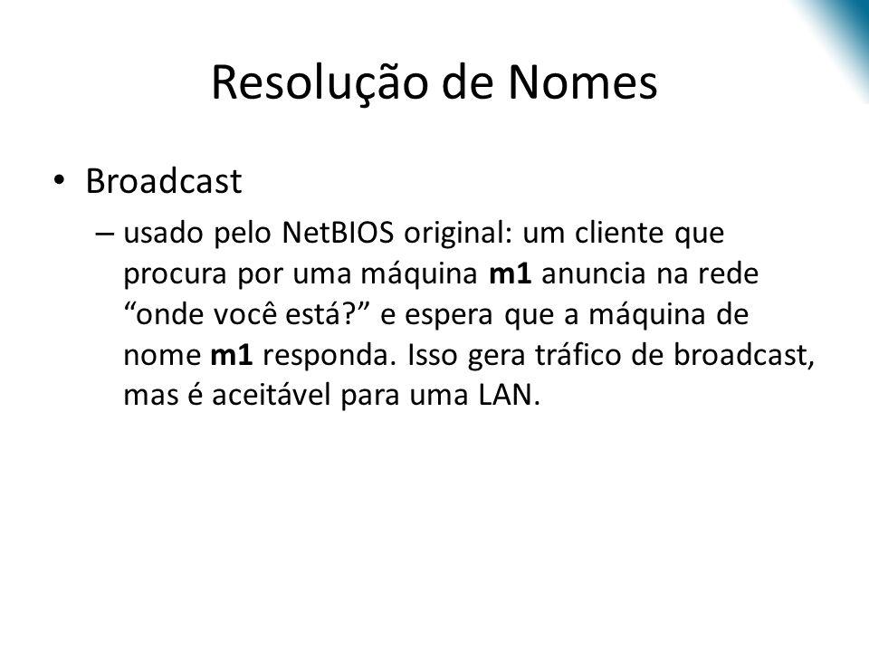 Resolução de Nomes Broadcast – usado pelo NetBIOS original: um cliente que procura por uma máquina m1 anuncia na rede onde você está? e espera que a m